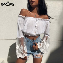FREE SHIPPING White Lace Crochet Crop Top JKP398
