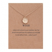 FREE SHIPPING Wish Sunflower Pendant Short Necklace JKP1050