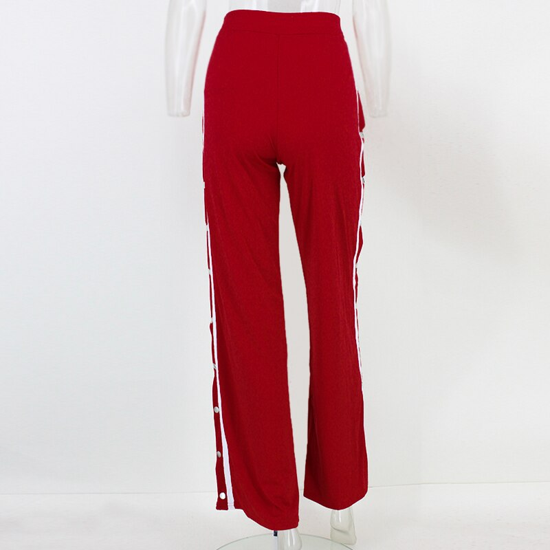 Red button track pants runway Women's wide leg trousers casual pants JKP012