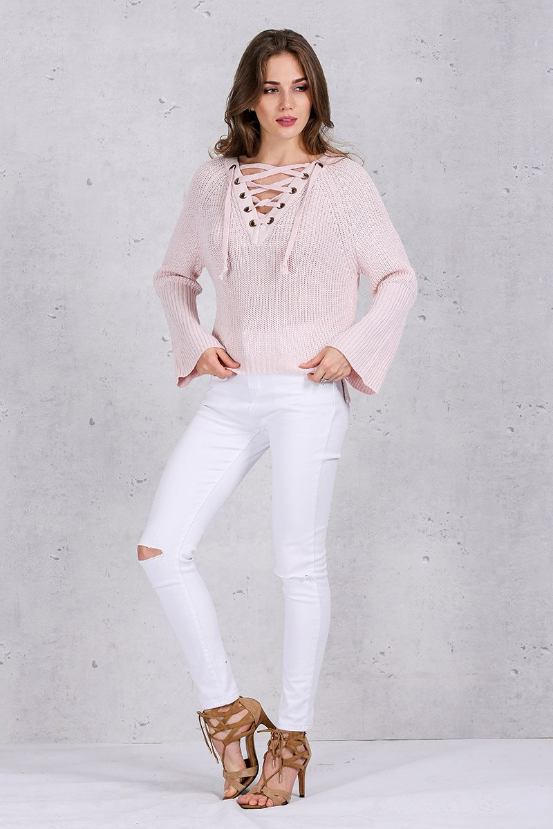 FREEE SHIPPING Sweater women Lace up pullover Sexy pink jumpers JKP022